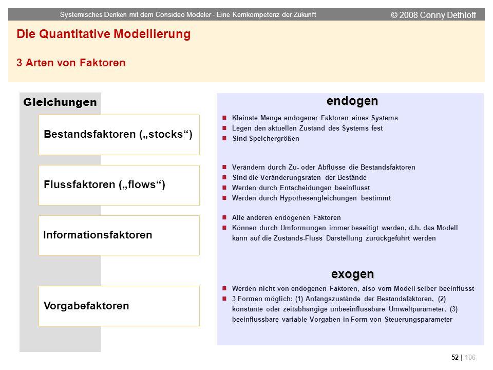 © 2008 Conny Dethloff Systemisches Denken mit dem Consideo Modeler - Eine Kernkompetenz der Zukunft 52 | 106 Die Quantitative Modellierung 3 Arten von