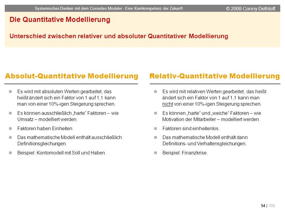 © 2008 Conny Dethloff Systemisches Denken mit dem Consideo Modeler - Eine Kernkompetenz der Zukunft 54 | 106 Es wird mit absoluten Werten gearbeitet,