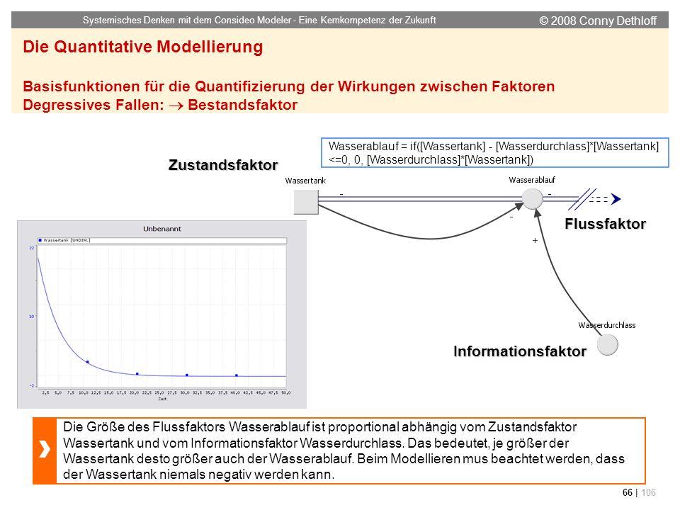 © 2008 Conny Dethloff Systemisches Denken mit dem Consideo Modeler - Eine Kernkompetenz der Zukunft 66 | 106 Die Quantitative Modellierung Basisfunkti