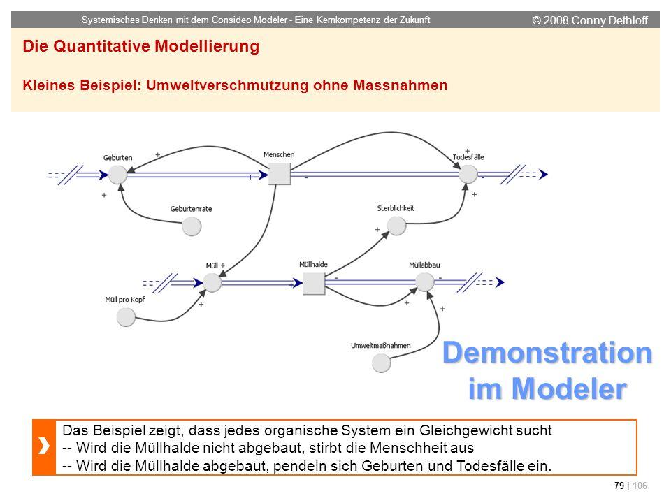 © 2008 Conny Dethloff Systemisches Denken mit dem Consideo Modeler - Eine Kernkompetenz der Zukunft 79 | 106 Die Quantitative Modellierung Kleines Bei