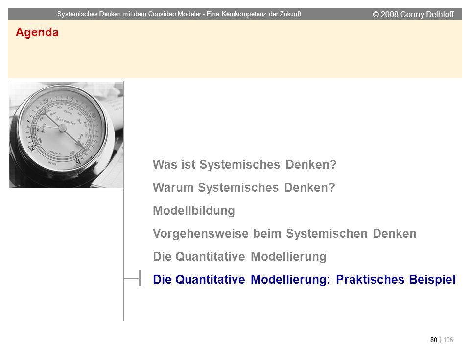 © 2008 Conny Dethloff Systemisches Denken mit dem Consideo Modeler - Eine Kernkompetenz der Zukunft 80 | 106 Agenda Was ist Systemisches Denken? Warum