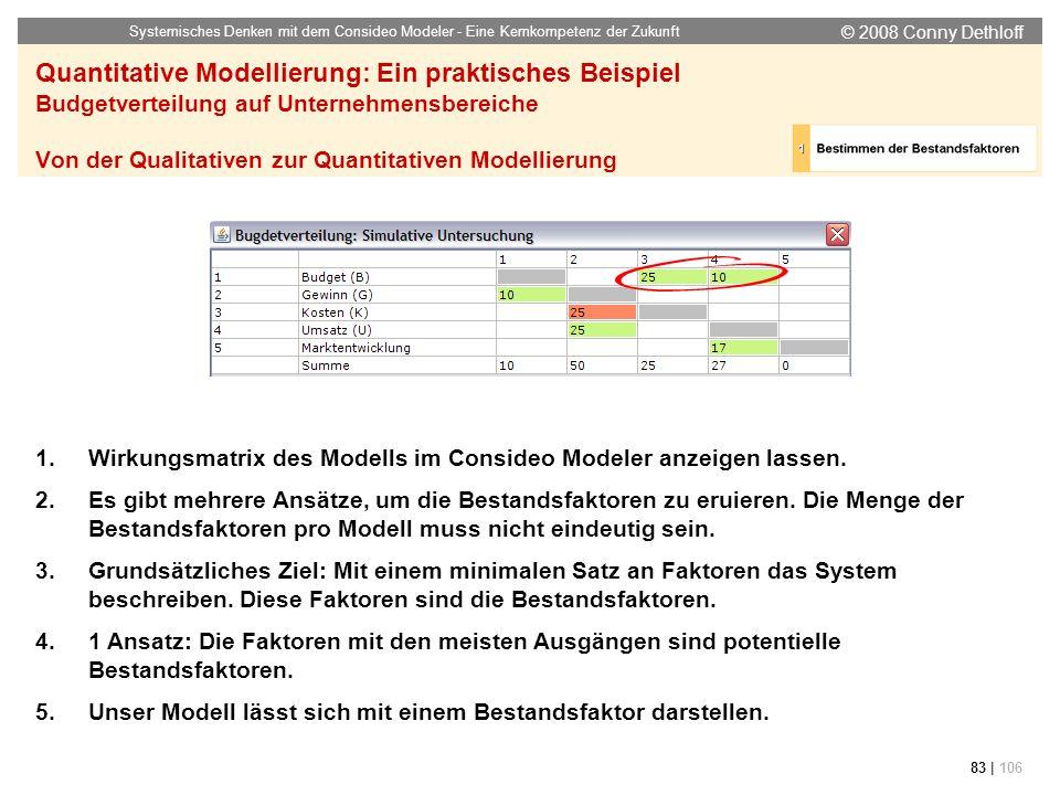 © 2008 Conny Dethloff Systemisches Denken mit dem Consideo Modeler - Eine Kernkompetenz der Zukunft 83 | 106 Quantitative Modellierung: Ein praktische