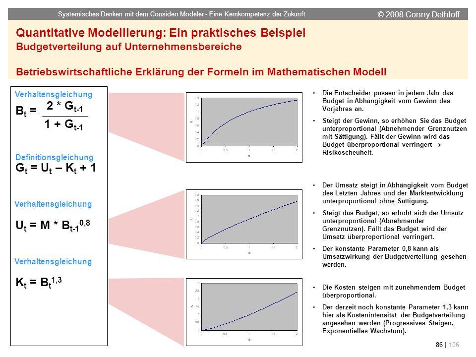 © 2008 Conny Dethloff Systemisches Denken mit dem Consideo Modeler - Eine Kernkompetenz der Zukunft 86 | 106 Quantitative Modellierung: Ein praktische