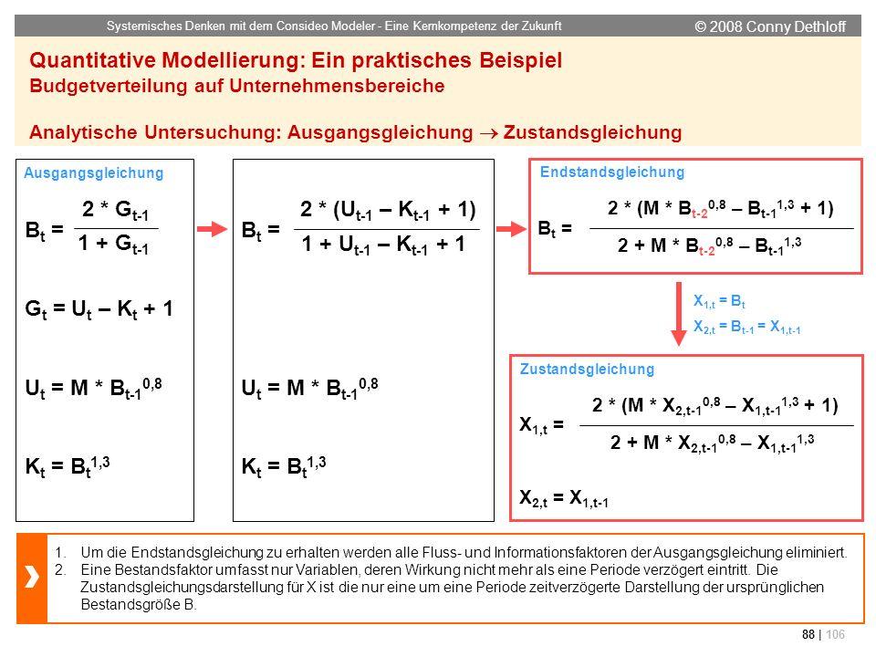 © 2008 Conny Dethloff Systemisches Denken mit dem Consideo Modeler - Eine Kernkompetenz der Zukunft 88 | 106 Quantitative Modellierung: Ein praktische