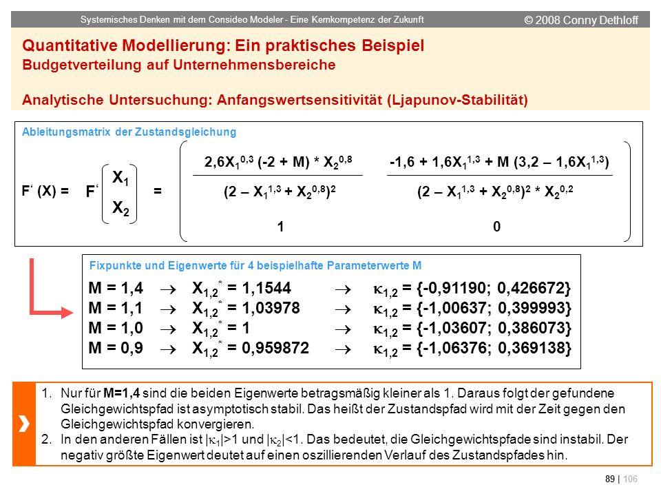 © 2008 Conny Dethloff Systemisches Denken mit dem Consideo Modeler - Eine Kernkompetenz der Zukunft 89 | 106 Quantitative Modellierung: Ein praktische