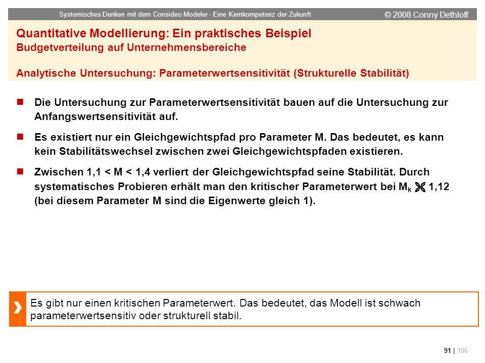 © 2008 Conny Dethloff Systemisches Denken mit dem Consideo Modeler - Eine Kernkompetenz der Zukunft 91 | 106 Quantitative Modellierung: Ein praktische