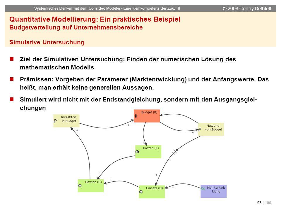 © 2008 Conny Dethloff Systemisches Denken mit dem Consideo Modeler - Eine Kernkompetenz der Zukunft 93 | 106 Quantitative Modellierung: Ein praktische