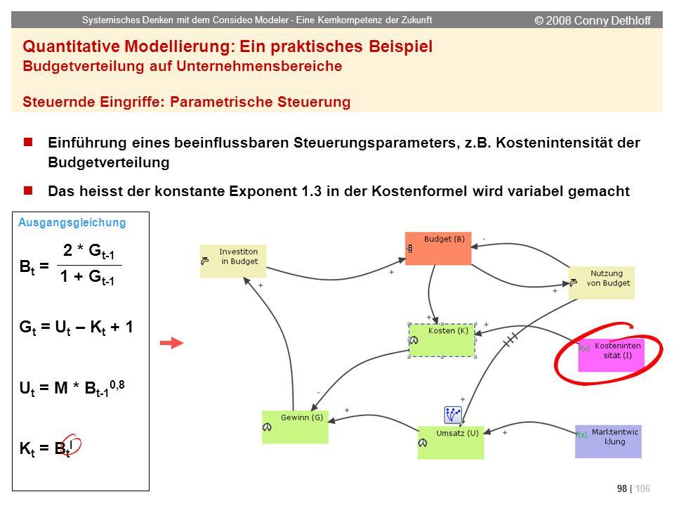 © 2008 Conny Dethloff Systemisches Denken mit dem Consideo Modeler - Eine Kernkompetenz der Zukunft 98 | 106 Quantitative Modellierung: Ein praktische