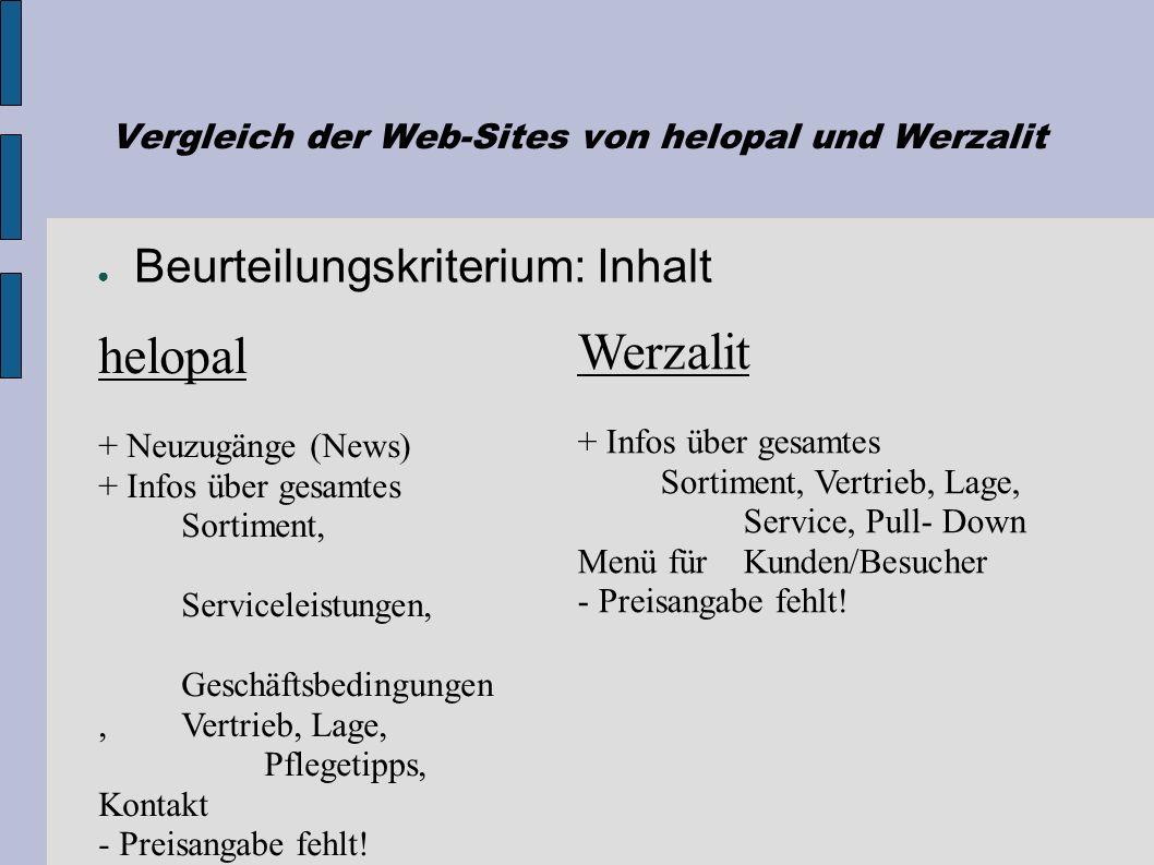 Vergleich der Web-Sites von helopal und Werzalit Referat Web-Site-Entwicklung, WS 2004 Katharina Happe Romina Babuin Christian Adelbrecht