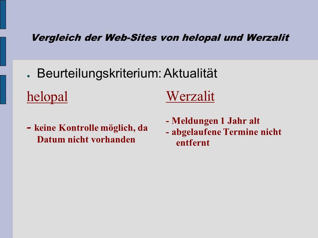Vergleich der Web-Sites von helopal und Werzalit helopal + schlicht + Bezug zu Thema + übersichtlich + klare Struktur + Illustration der Produkte - te