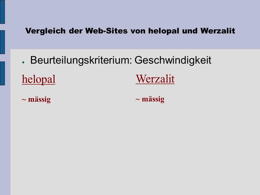 Vergleich der Web-Sites von helopal und Werzalit Beurteilungskriterium: Feedback-Kanäle Werzalit + E-Mail-us + Pull-Down Menü: Anfrage, Info, Bestellu
