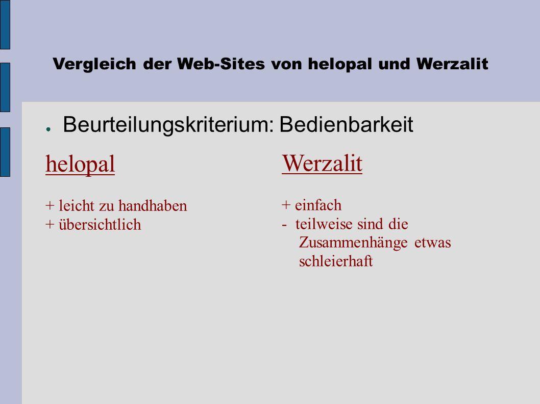 Vergleich der Web-Sites von helopal und Werzalit Beurteilungskriterium: Geschwindigkeit Werzalit ~ mässig helopal ~ mässig