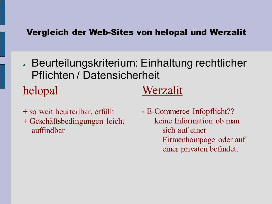 Vergleich der Web-Sites von helopal und Werzalit Adresse (Auffindbarkeit) Werzalit www.werzalit.at/werzalit helopal www.helopal.at www.helopal.com Beu