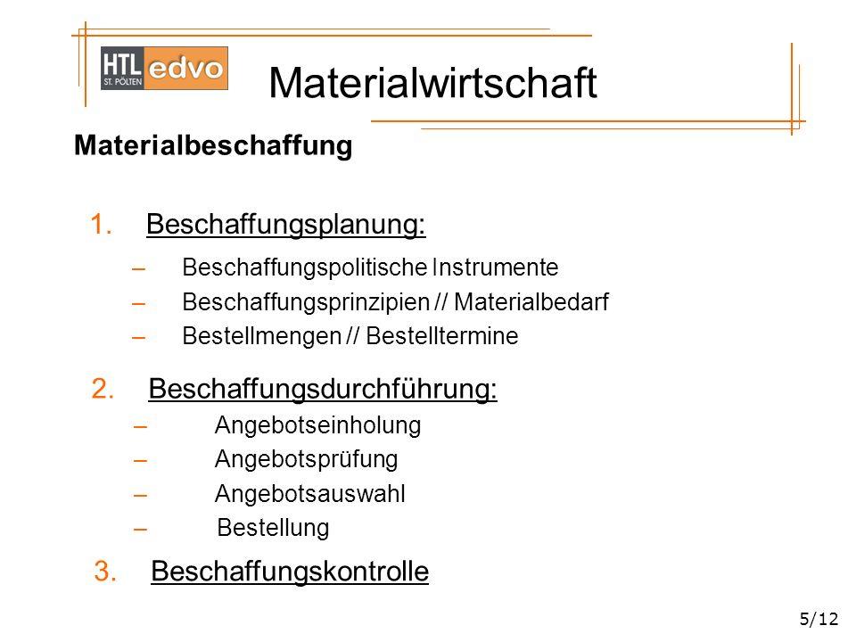 Materialwirtschaft 5/12 Materialbeschaffung 1.Beschaffungsplanung: –Beschaffungspolitische Instrumente –Beschaffungsprinzipien // Materialbedarf –Best