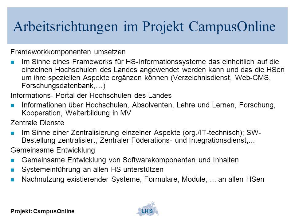 LHIS Projekt: CampusOnline Arbeitsrichtungen im Projekt CampusOnline Frameworkkomponenten umsetzen n Im Sinne eines Frameworks für HS-Informationssyst