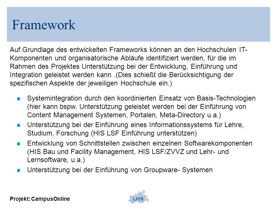 LHIS Projekt: CampusOnline Framework n Systemintegration durch den koordinierten Einsatz von Basis-Technologien (hier kann bspw. Unterstützung geleist