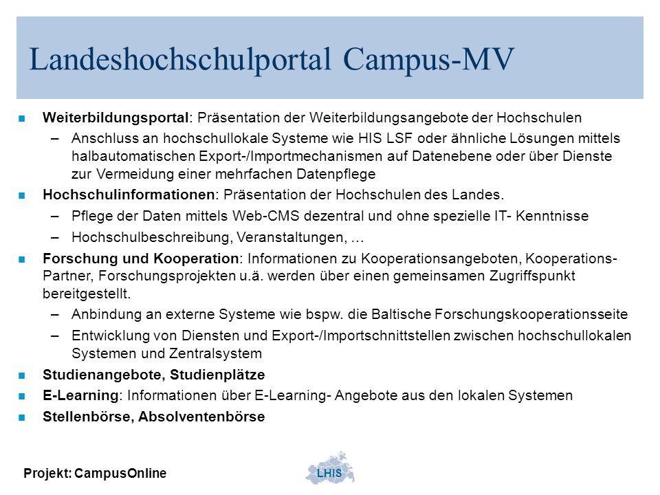 LHIS Projekt: CampusOnline Landeshochschulportal Campus-MV n Weiterbildungsportal: Präsentation der Weiterbildungsangebote der Hochschulen –Anschluss