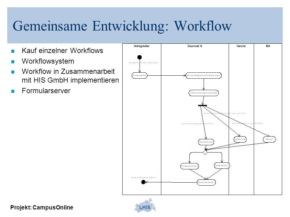 LHIS Projekt: CampusOnline Gemeinsame Entwicklung: Workflow n Kauf einzelner Workflows n Workflowsystem n Workflow in Zusammenarbeit mit HIS GmbH impl