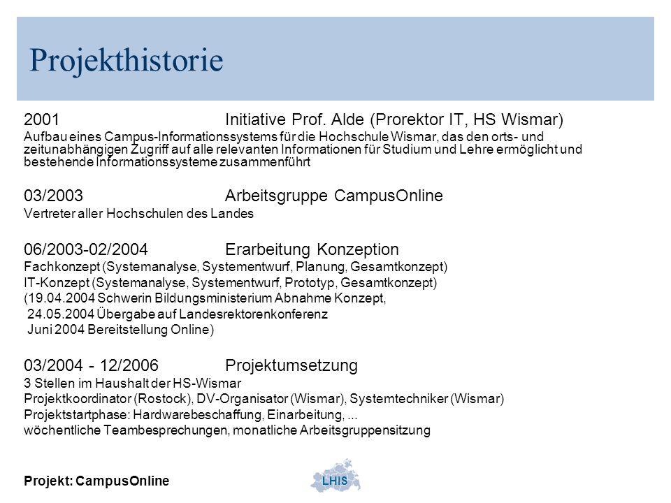 LHIS Projekt: CampusOnline Projekthistorie 2001Initiative Prof. Alde (Prorektor IT, HS Wismar) Aufbau eines Campus-Informationssystems für die Hochsch