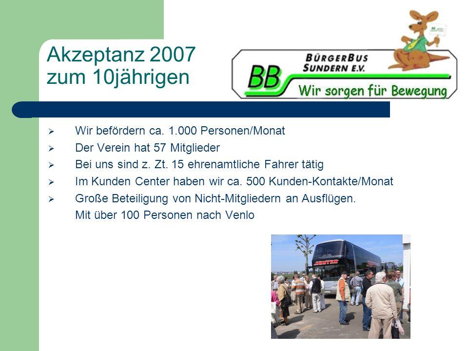 Akzeptanz 2007 zum 10jährigen Wir befördern ca. 1.000 Personen/Monat Der Verein hat 57 Mitglieder Bei uns sind z. Zt. 15 ehrenamtliche Fahrer tätig Im