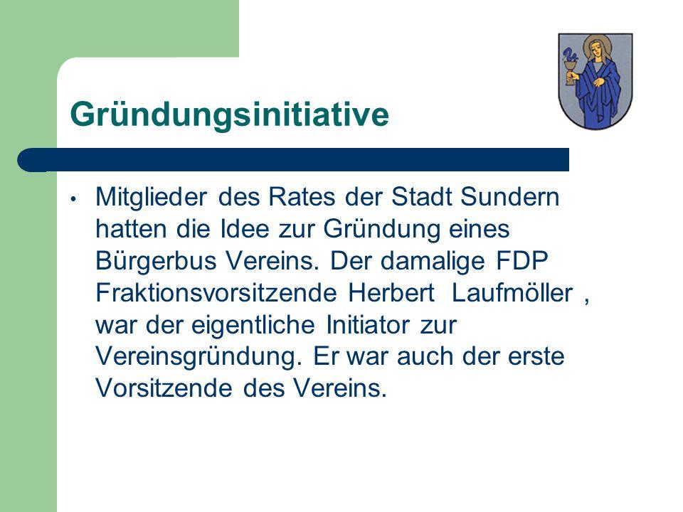 Gründungsinitiative Mitglieder des Rates der Stadt Sundern hatten die Idee zur Gründung eines Bürgerbus Vereins. Der damalige FDP Fraktionsvorsitzende