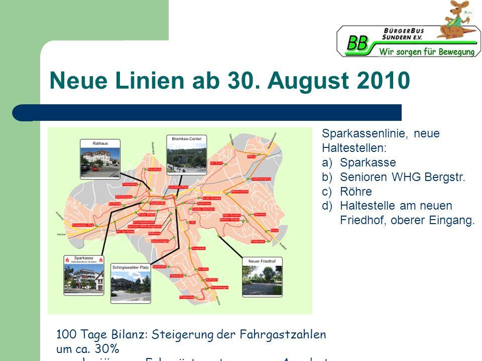 Neue Linien ab 30. August 2010 Sparkassenlinie, neue Haltestellen: a)Sparkasse b)Senioren WHG Bergstr. c)Röhre d)Haltestelle am neuen Friedhof, oberer