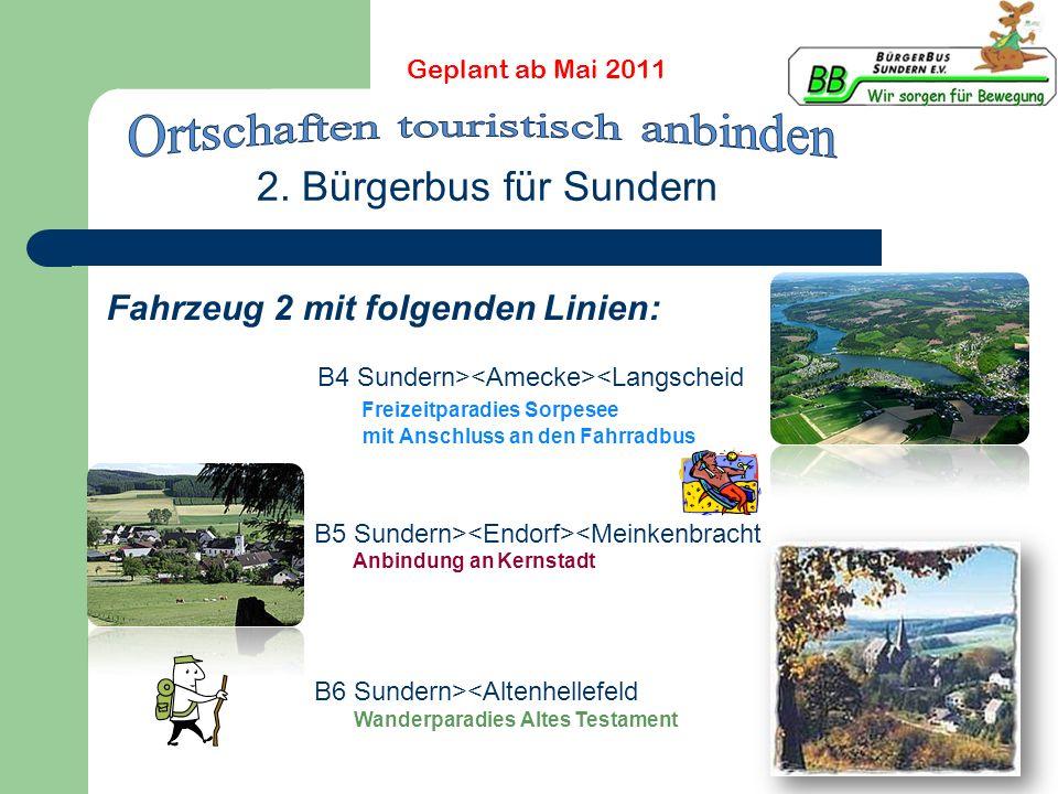 2. Bürgerbus für Sundern Fahrzeug 2 mit folgenden Linien: B4 Sundern> <Langscheid Freizeitparadies Sorpesee mit Anschluss an den Fahrradbus B5 Sundern