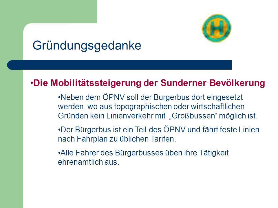 Die Mobilitätssteigerung der Sunderner Bevölkerung Neben dem ÖPNV soll der Bürgerbus dort eingesetzt werden, wo aus topographischen oder wirtschaftlic