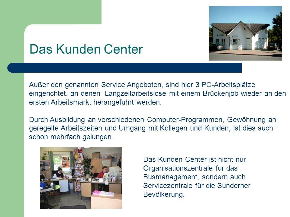 Das Kunden Center Außer den genannten Service Angeboten, sind hier 3 PC-Arbeitsplätze eingerichtet, an denen Langzeitarbeitslose mit einem Brückenjob