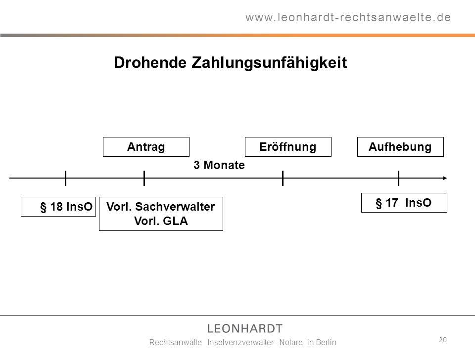 Drohende Zahlungsunfähigkeit 20 Vorl. Sachverwalter Vorl. GLA Eröffnung www.leonhardt-rechtsanwaelte.de § 18 InsO Antrag § 17 InsO Rechtsanwälte Insol