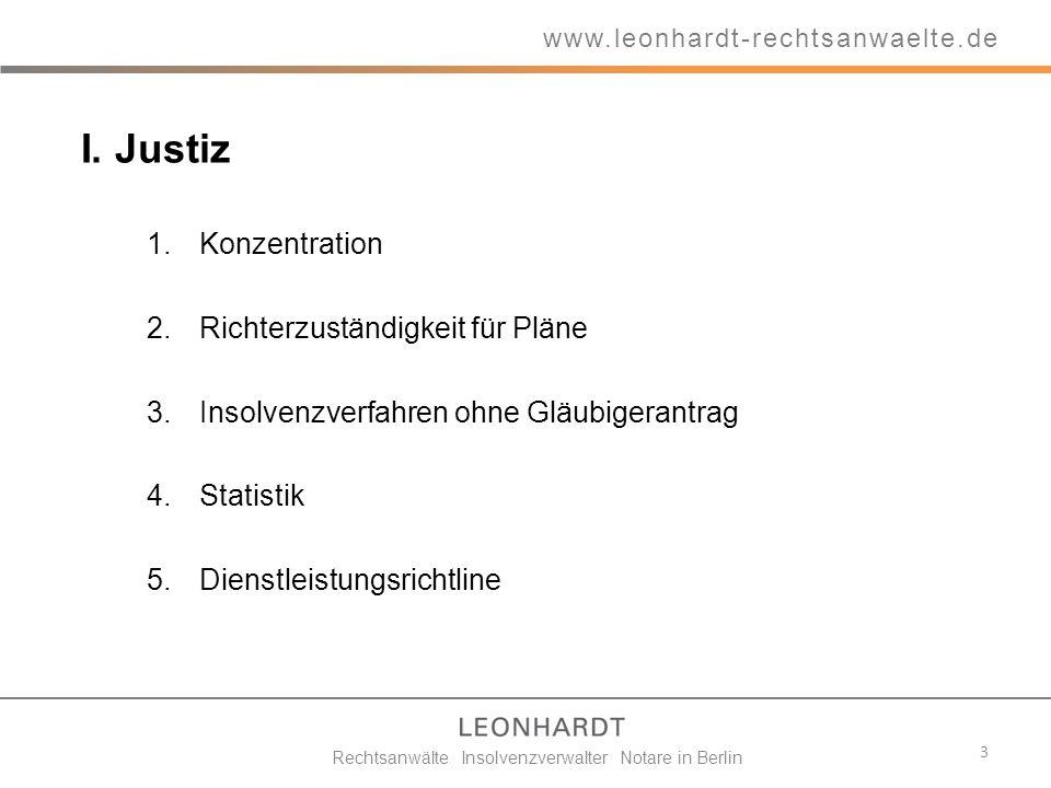 I. Justiz 1.Konzentration 2.Richterzuständigkeit für Pläne 3.Insolvenzverfahren ohne Gläubigerantrag 4.Statistik 5.Dienstleistungsrichtline 3 www.leon