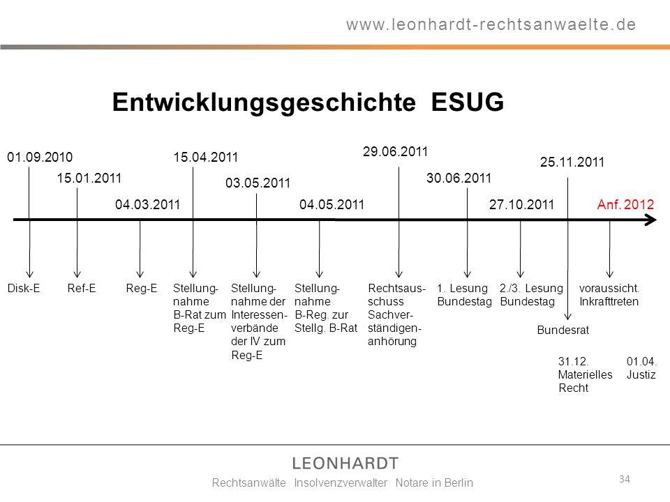34 www.leonhardt-rechtsanwaelte.de Rechtsanwälte Insolvenzverwalter Notare in Berlin Entwicklungsgeschichte ESUG 01.09.2010 Disk-E 15.01.2011 Ref-E 04