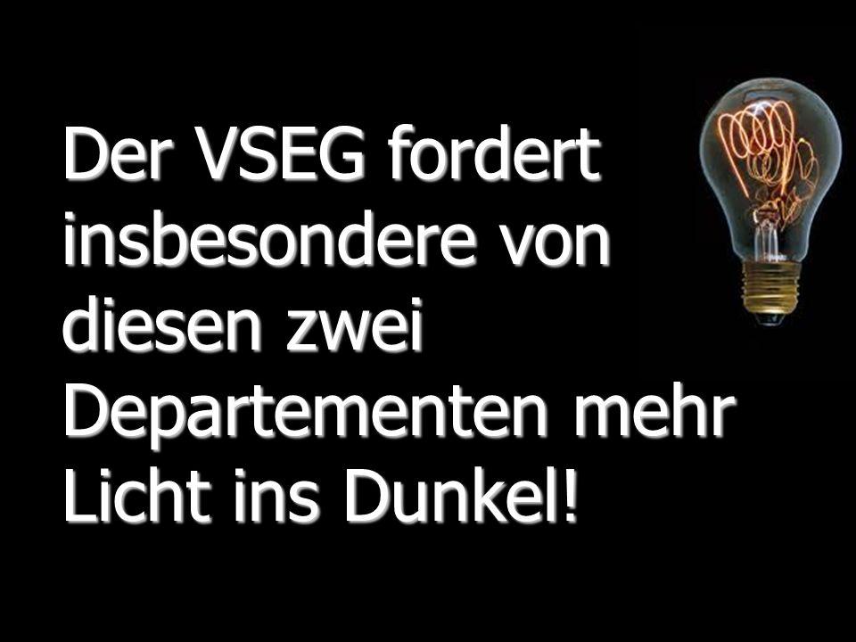 Verband Solothurner Einwohnergemeinden 15 Traktandum 2, Ergänzungen der Geschäftsstelle Der VSEG fordert insbesondere von diesen zwei Departementen me