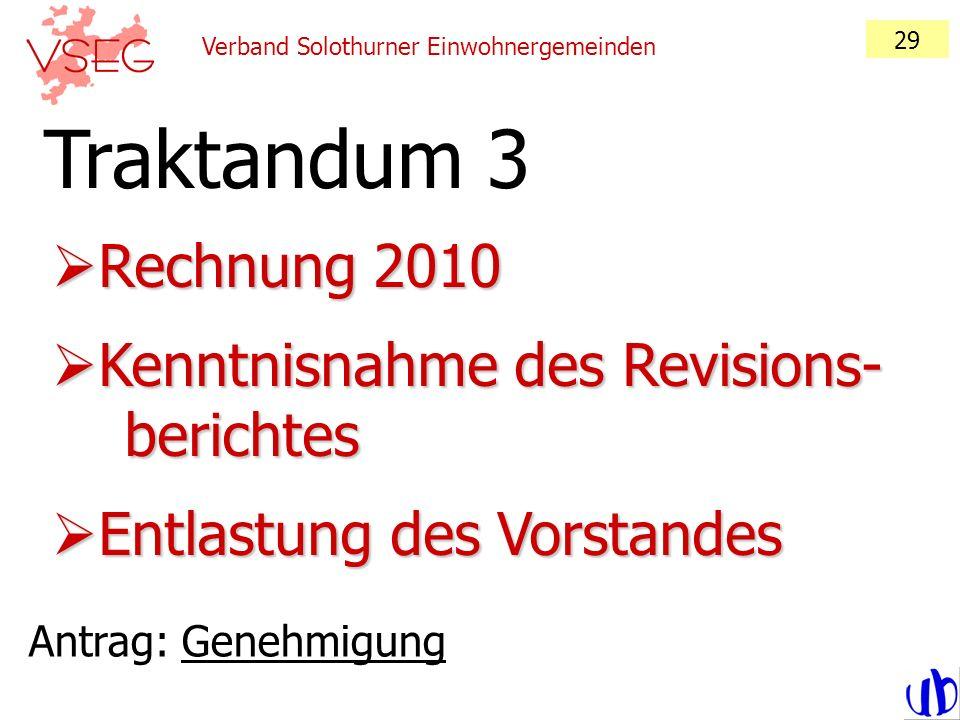 Verband Solothurner Einwohnergemeinden 29 Rechnung 2010 Rechnung 2010 Kenntnisnahme des Revisions- berichtes Kenntnisnahme des Revisions- berichtes En