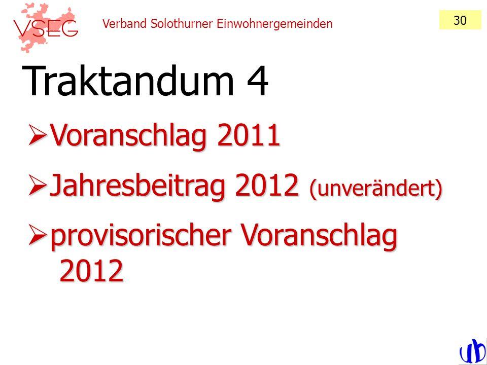 Verband Solothurner Einwohnergemeinden 30 Voranschlag 2011 Voranschlag 2011 Jahresbeitrag 2012 (unverändert) Jahresbeitrag 2012 (unverändert) provisor