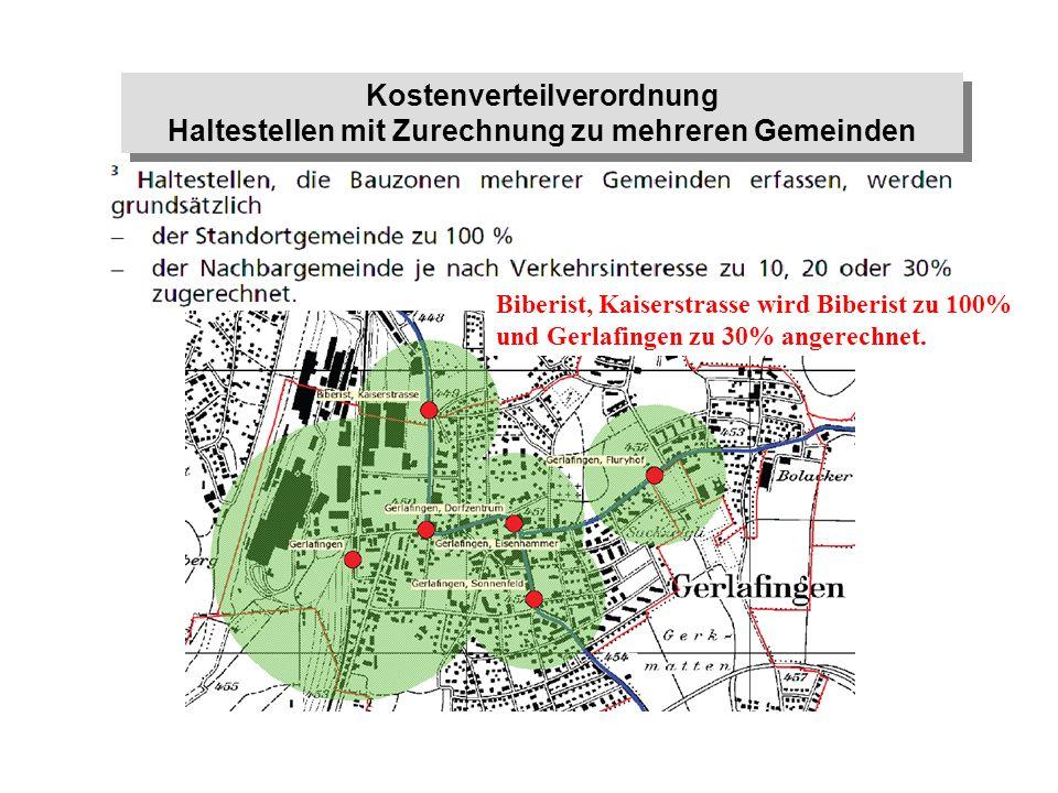 Kostenverteilverordnung Haltestellen mit Zurechnung zu mehreren Gemeinden Kostenverteilverordnung Haltestellen mit Zurechnung zu mehreren Gemeinden Bi
