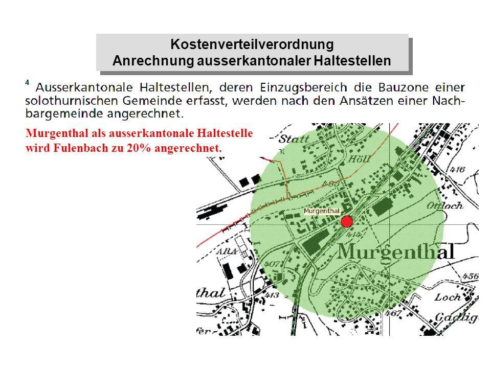 Murgenthal als ausserkantonale Haltestelle wird Fulenbach zu 20% angerechnet. Kostenverteilverordnung Anrechnung ausserkantonaler Haltestellen Kostenv