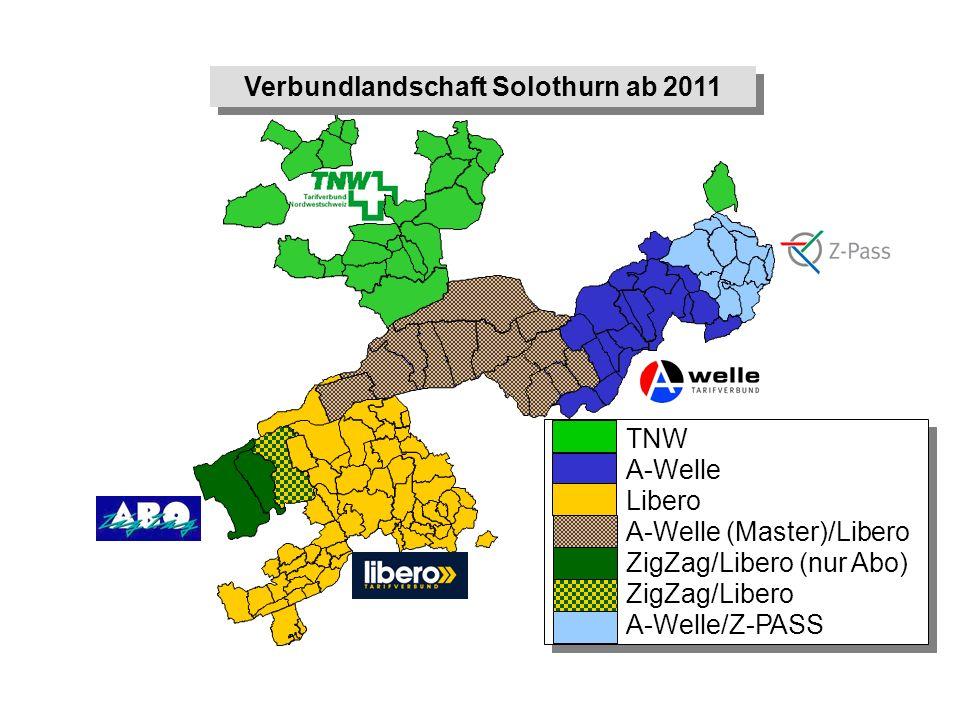 Verbundlandschaft Solothurn ab 2011 TNW A-Welle Libero A-Welle (Master)/Libero ZigZag/Libero (nur Abo) ZigZag/Libero A-Welle/Z-PASS