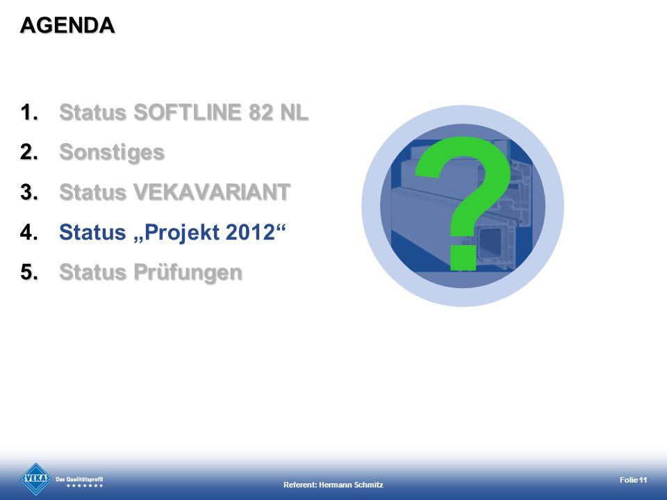 Referent: Hermann Schmitz Folie 11 AGENDA ? 1.Status SOFTLINE 82 NL 2.Sonstiges 3.Status VEKAVARIANT 4.Status Projekt 2012 5.Status Prüfungen