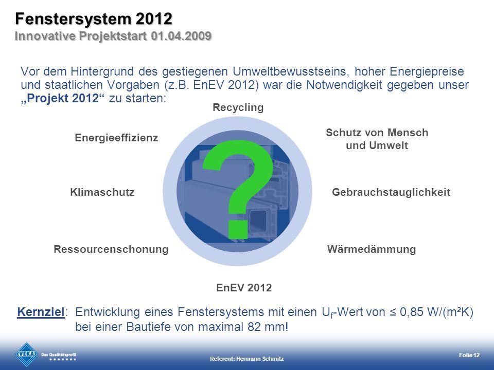 Referent: Hermann Schmitz Folie 12 Vor dem Hintergrund des gestiegenen Umweltbewusstseins, hoher Energiepreise und staatlichen Vorgaben (z.B. EnEV 201