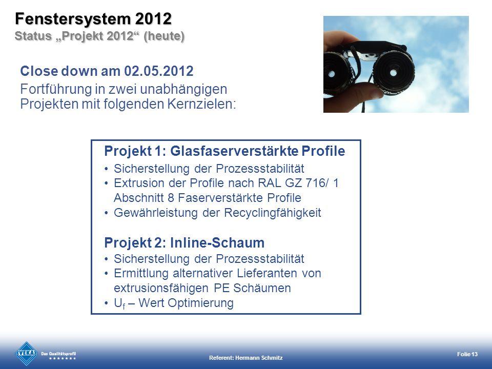 Referent: Hermann Schmitz Folie 13 Close down am 02.05.2012 Fortführung in zwei unabhängigen Projekten mit folgenden Kernzielen: Projekt 1: Glasfaserv
