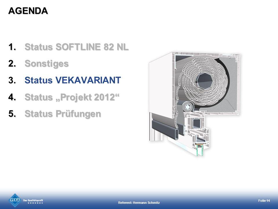 Referent: Hermann Schmitz Folie 14 AGENDA 1.Status SOFTLINE 82 NL 2.Sonstiges 3.Status VEKAVARIANT 4.Status Projekt 2012 5.Status Prüfungen