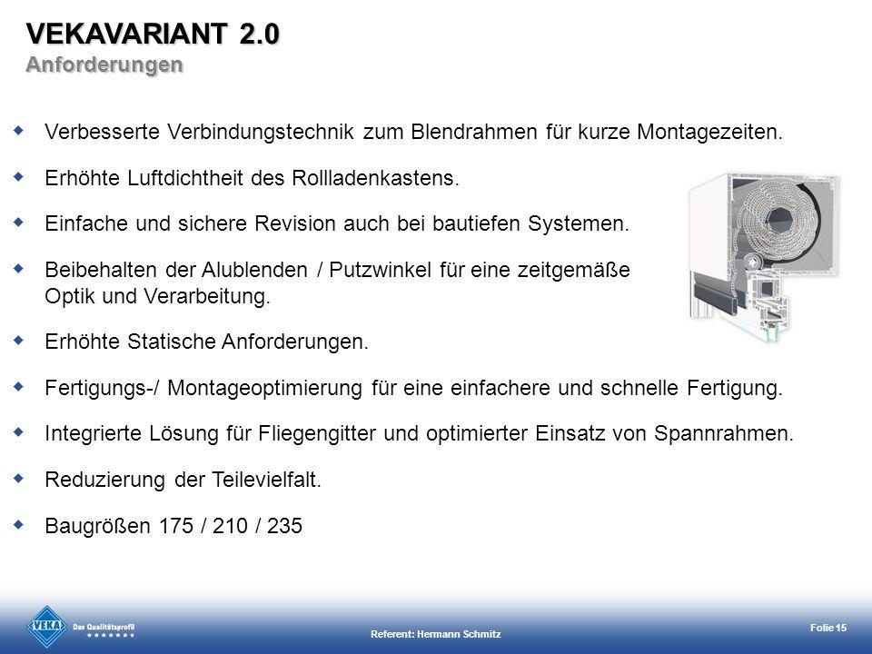 Referent: Hermann Schmitz Folie 15 Verbesserte Verbindungstechnik zum Blendrahmen für kurze Montagezeiten. Erhöhte Luftdichtheit des Rollladenkastens.