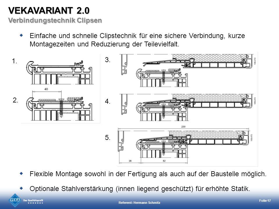 Referent: Hermann Schmitz Folie 17 1. 2. 5. 4. 3. Einfache und schnelle Clipstechnik für eine sichere Verbindung, kurze Montagezeiten und Reduzierung