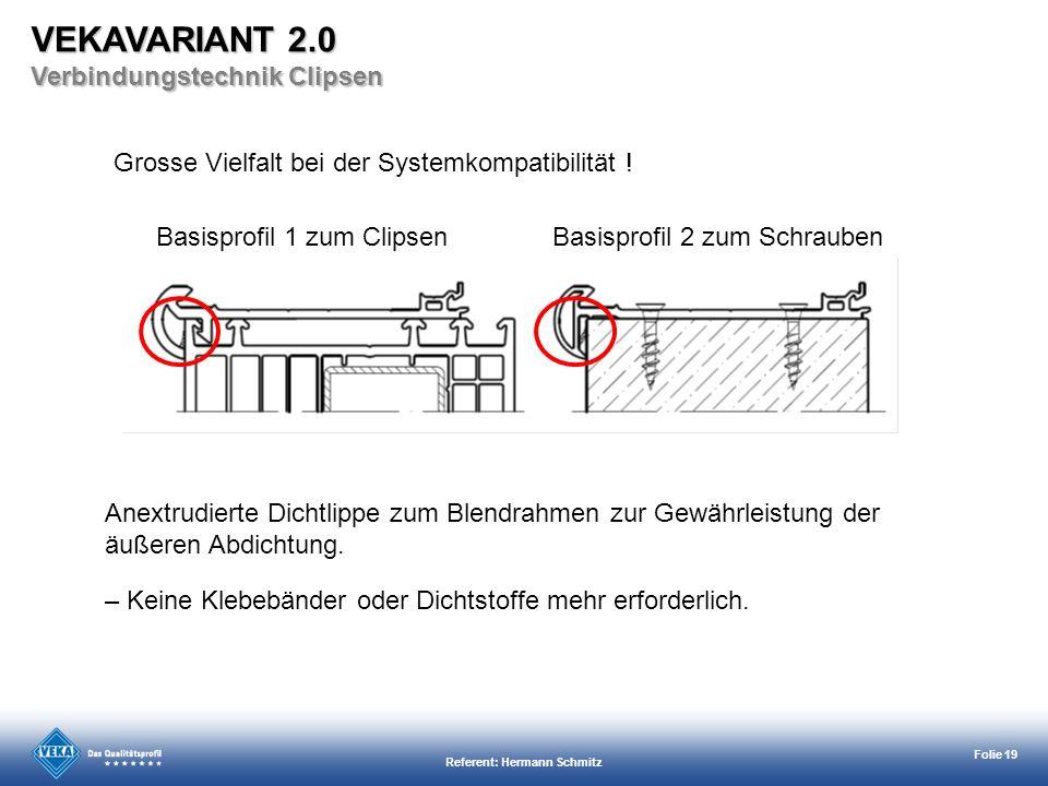 Referent: Hermann Schmitz Folie 19 Anextrudierte Dichtlippe zum Blendrahmen zur Gewährleistung der äußeren Abdichtung. – Keine Klebebänder oder Dichts