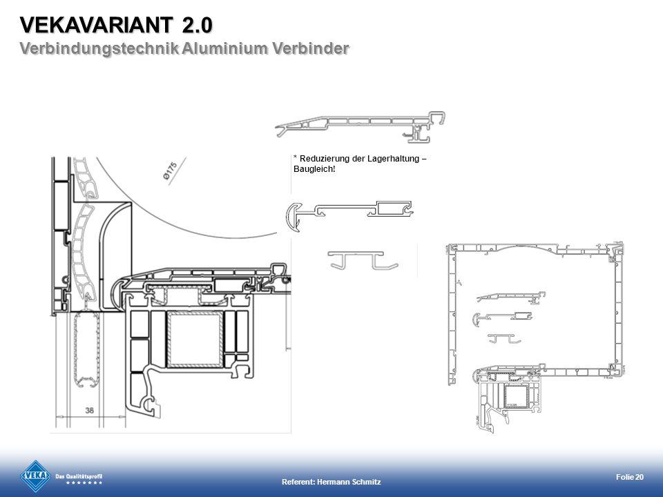 Referent: Hermann Schmitz Folie 20 * Reduzierung der Lagerhaltung – Baugleich! VEKAVARIANT 2.0 Verbindungstechnik Aluminium Verbinder