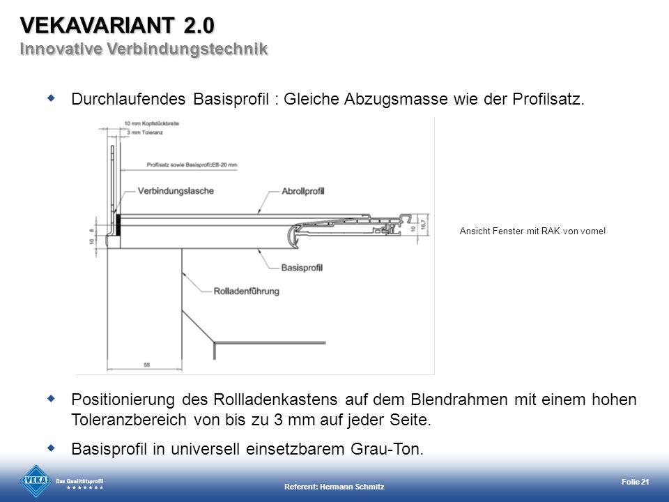 Referent: Hermann Schmitz Folie 21 Ansicht Fenster mit RAK von vorne! Durchlaufendes Basisprofil : Gleiche Abzugsmasse wie der Profilsatz. Basisprofil