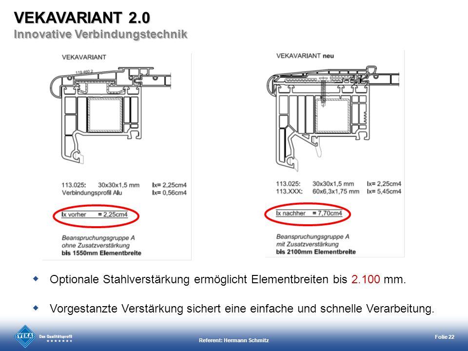 Referent: Hermann Schmitz Folie 22 Vorgestanzte Verstärkung sichert eine einfache und schnelle Verarbeitung. Optionale Stahlverstärkung ermöglicht Ele