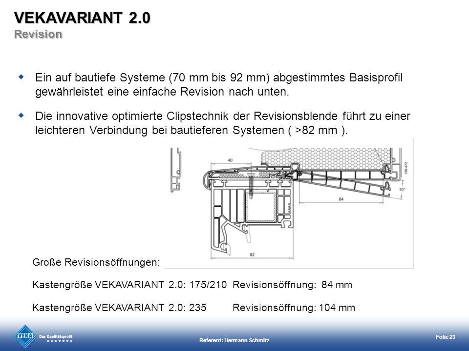 Referent: Hermann Schmitz Folie 23 Große Revisionsöffnungen: Kastengröße VEKAVARIANT 2.0: 175/210 Revisionsöffnung: 84 mm Kastengröße VEKAVARIANT 2.0: