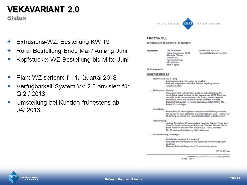 Referent: Hermann Schmitz Folie 24 Extrusions-WZ: Bestellung KW 19 Rofü: Bestellung Ende Mai / Anfang Juni Kopfstücke: WZ-Bestellung bis Mitte Juni Pl